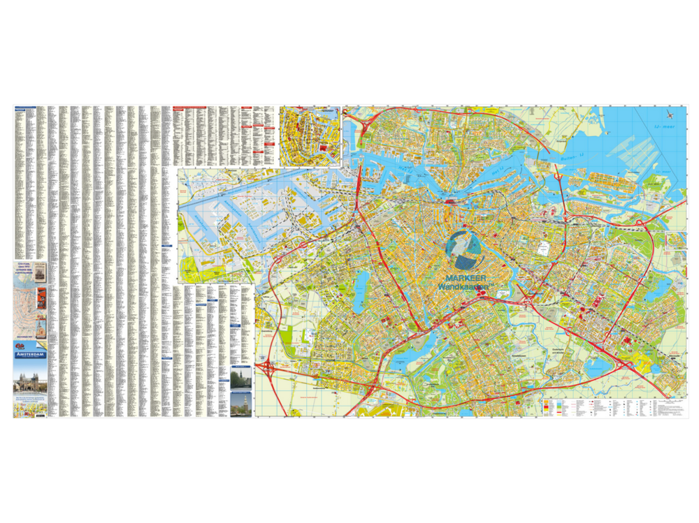 Amsterdam City Map with index Cito pinboard MARKEER Wall Maps