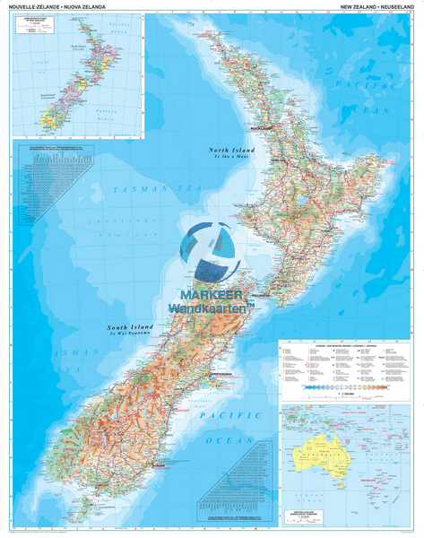 Geographical Map Of New Zealand.New Zealand Geographical