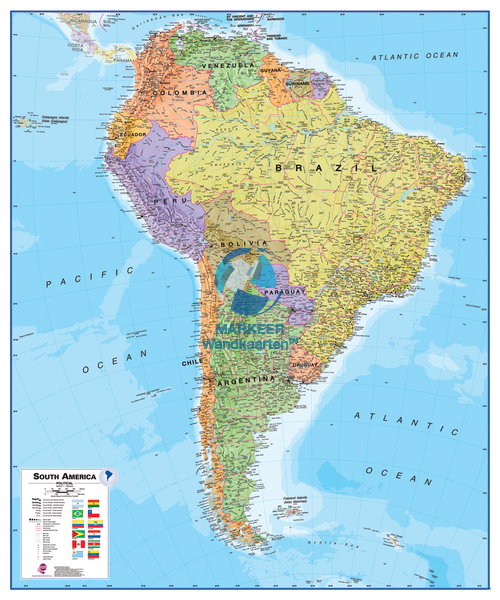 South america political markeer wall maps south america reference map political freerunsca Images