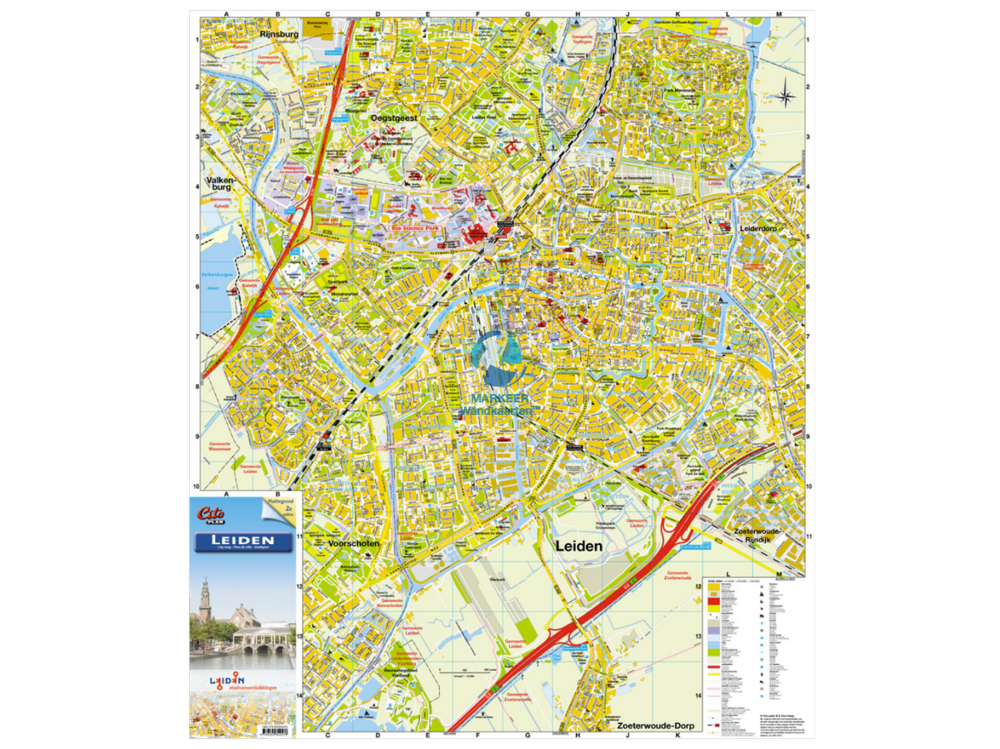 Leiden City Map Citoplan pinboard MARKEER Wall Maps